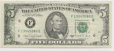 1988-A $5 Note Partial Offset Onto Front