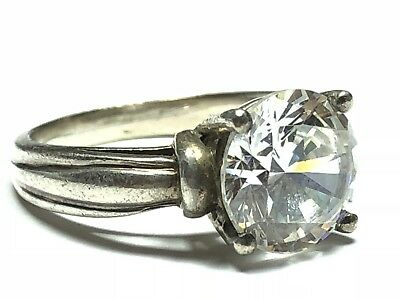 Beautiful Ladies Sterling Silver CZ Travel Engagement Ring - Size 7 - A Must See