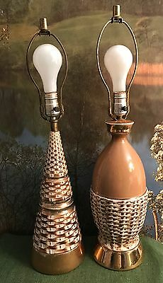 2 Vintage Mid Century Basket Weave Ceramic Pottery Table Lamps