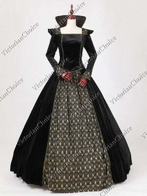 Medieval Game of Thrones Queen Black Dress Punk Witch Halloween Costume N 325 L