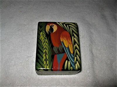 Signed WOODEN PARROT TRINKET BOX Solid Wood Macaw Stash Box WOODEN CRATE CACHE