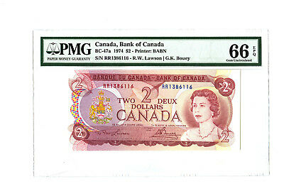 1974 $2 BANK OF CANADA PMG 66 EPQ BC-47a BANKNOTE TWO DOLLAR RARE PREFIX 'RR'