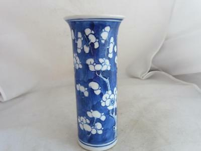 19Th Century  Chinese Tall Cylindrical Prunus Blossom Vase