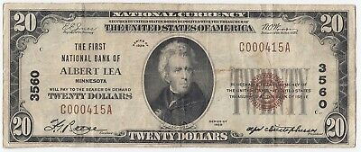 1929 National Currency $20 FNB of Albert Lea MN FR#1802-1 Charter#3560 A4155