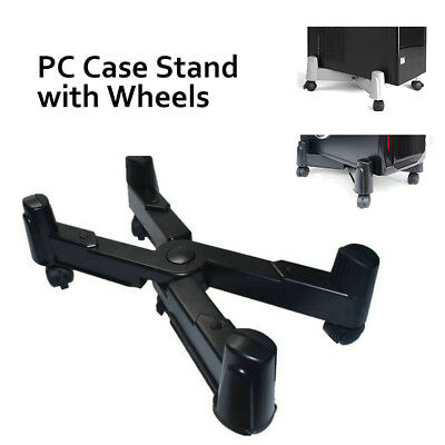 NEW PC Desktop Case Stand Holder Computer tower Rolling Caster Wheels Adjustable