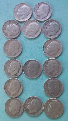 R122 Roosevelt 90% silver dime lot of 15 coins combine ship + $1 more per win