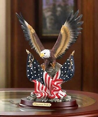 PATRIOTIC BALD EAGLE Statue Wings Spread American Flags Sculpture
