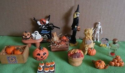 Dollhouse miniatures, Halloween, fall decor, treats, pumpkins, large lot quality