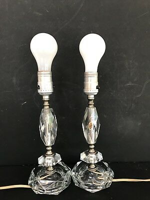 "Vtg Art Deco Hand Cut Crystal Table Lamp Boudoir Light Pair Set 11"" Tall Japan"