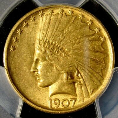 1907 Indian Head $10 Gold Eagle, No Motto - PCGS AU58 - Certified About Unc