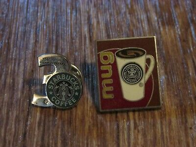 Lot Of 2 Starbucks Lapel Pins, Mug & 3 Year Anniversary, Good Condition,