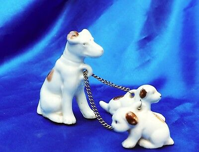 Vintage Porcelain Jack Russell Rat terrier Fox TErrier dog w 2 puppies on chains