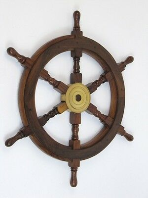"24"" Wooden Ship Wheel With Brass Hub-Nautical Decor"