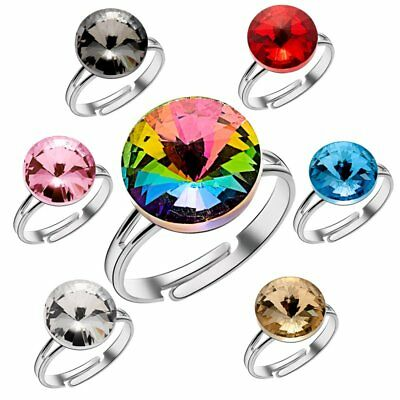 Wholesale Colorful Crystal Adjustable Gem Rings Women Wedding Party Jewelry Gift