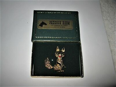 """Stunning Cute Smiling Fox Brooch Pin New in Box Just Beautiful 1.75"""" Adorable"""