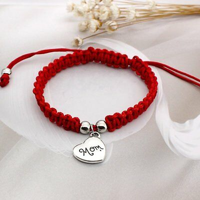 Lucky Handmade Buddhist Knots Rope Bracelet Tibetan Mom Heart Adjustable Gifts