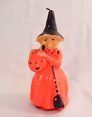 "LARGE 8"" VINTAGE  HALLOWEEN GURLEY WITCH CANDLE HOLDING PUMPKIN w GREAT FACE"