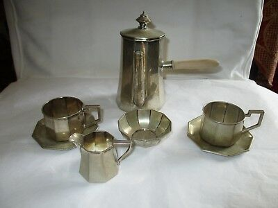Antique 6-piece 800 silver Miniature Coffee Set, Germany Gerbueder Kuhne, 268 g