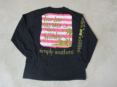 Simply Southern Long Sleeve Shirt Size Womens Medium Black Gold Jesus Preppy