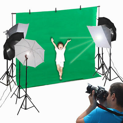 New Photo Studio Vedio Photography Kit 45W Light Bulb Umbrella Backdrop Set