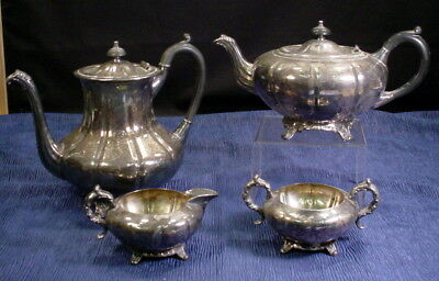 Vintage Viking Footed EP On Copper Tea Coffee Set 2 Pots With Creamer And Sugar