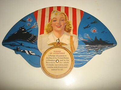 Vintage Victory Girl By Fitz Boynton Patriotic Tri-Fold Advertising Fan