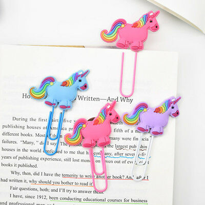 2X Cute Unicorn Bookmark Book Note Clip Page Marker For Kids Reading Stationery