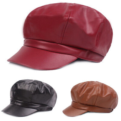 Women Ladies Faux Leather Gatsby Octagonal Cap Cabbie Driving Hat New Fashion