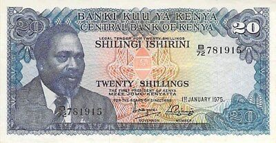 CENTRAL BANK OF KENYA 20 SHILLINGS NOTE 1975 P-13b LIONS WITH CUBS