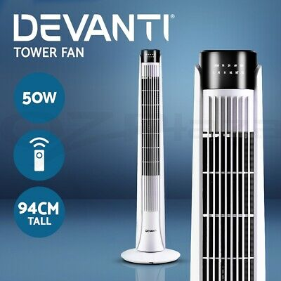 Devanti Portable Tower Fan Remote Control Cross Flow Touch Panel Timer Mode WH