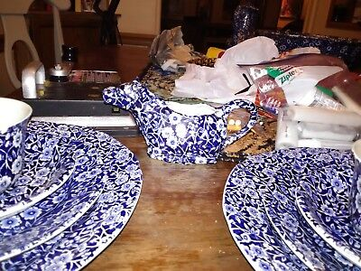 blue calico staffordshire dish set complete with cow shaped creamer cup