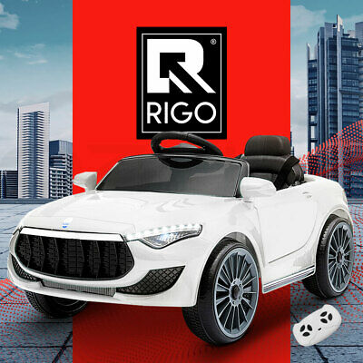 RIGO Kids Ride On Car Electric Toys 12V Battery Remote Control White MP3 LED