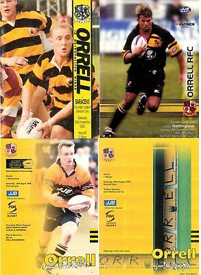 Orrell Rugby Union Programmes 1991 - 2002