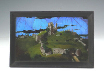 Antique Butterfly Wing Picture - Corfe Castle - 1930's Art Deco!