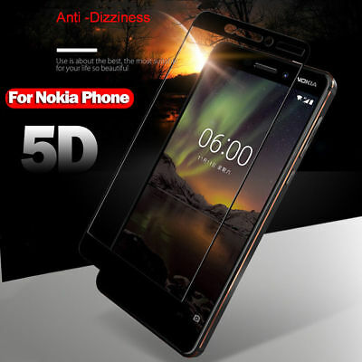 5D Curved Tempered Glass Screen Protector Guard Film For Nokia 6/7 Plus X5 6.1