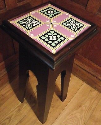 Arts and Crafts Table - Victorian Tile Top Table - Moorish Liberty Style Table