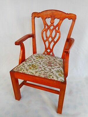 Vintage Miniature Chair - Just Like The Full Size , Attractive Upholstery