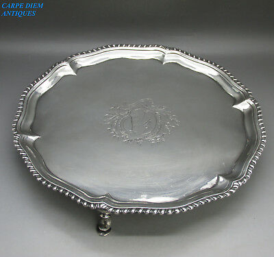 ANTIQUE GEORGE II LARGE HEAVY SOLID STERLING SILVER SALVER TRAY, 558g, LON 1759