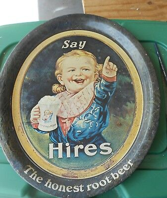 Vintage Advertising Tin Oval Hires Root Beer Soda Pop Tray