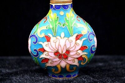 Collectible Rare Chinese Cloisonne Wire nice Enamel Craft Flowers Snuff Bottle
