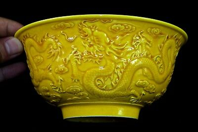 Ancient Collectible Rare Chinese Old Porcelain wonder Dragon Usable Big Bowl