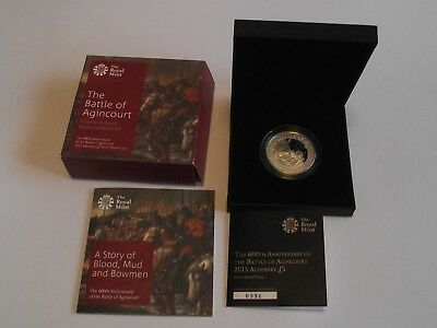 UK Royal Mint 2015 Alderney £5 silver proof coin 600th Anniversary Agincourt