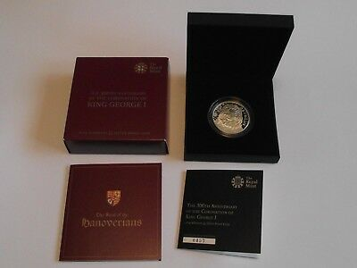 UK Royal Mint 2014 Alderney £5 silver proof coin Anniversary coronation George I