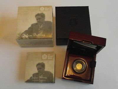 UK Royal Mint 2014 Alderney £1 Gold proof coin 100th anniversary Dylan Thomas