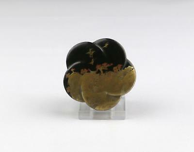 Superb Antique 19/20thC Japanese Meiji Gold Lacquered Covered Mon Shaped Box