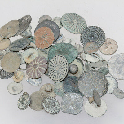 Lot of 59 European Bronze Buttons include military and uniforms From medieval to