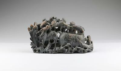 Fine Antique 19/20thC Chinese Qing Carved ShouShan Sculpture Brush Washer