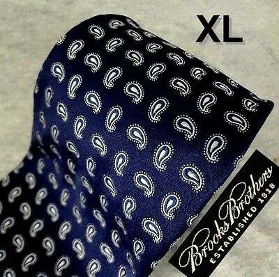 BROOKS BROTHERS Tie GLOSSY Blue Silk Silver Paisley HAND MADE in ITALY LUXURY XL