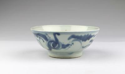 Antique 18/19C Chinese Qing Blue & White Minyao Dehua Porcelain Dragon Bowl #4