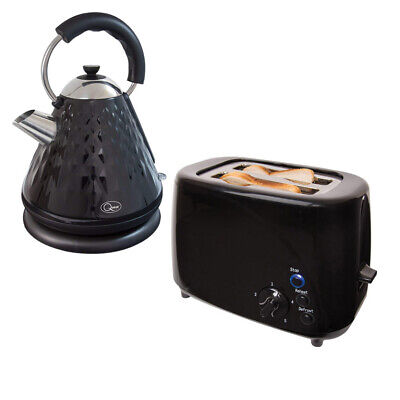 Black 1.7 Litre Cordless 2200W Diamond Pyramid Kettle + 850W 2 Slice Led Toaster